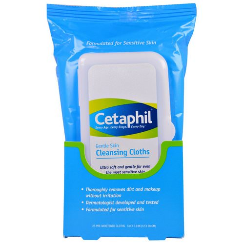 Cetaphil, Gentle Skin Cleansing Cloths, 25 Pre-Moistened Cloths, 5.0 x 7.9 (12 x 20 cm) Review