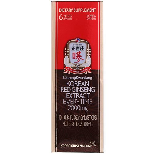 Cheong Kwan Jang, Korean Red Ginseng Extract Everytime, 2000 mg, 10 Sticks, 0.34 fl oz (10 ml) Each Review