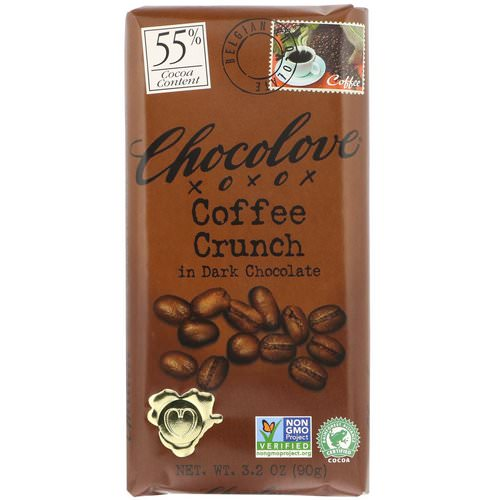 Chocolove, Coffee Crunch in Dark Chocolate, 3.2 oz (90 g) Review
