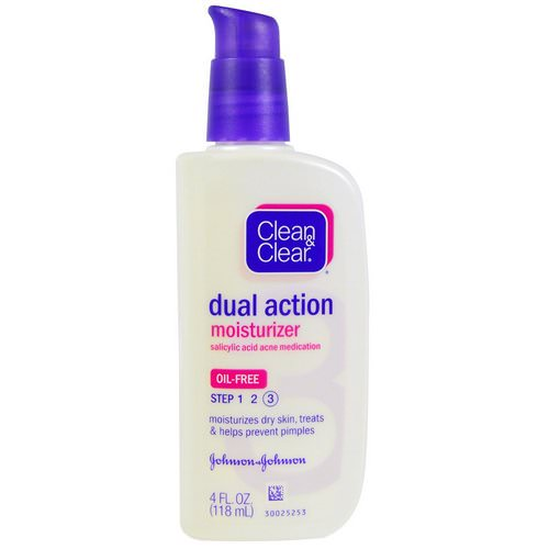Clean & Clear, Dual Action Moisturizer, Salicylic Acid Acne Medication, 4 fl oz (118 ml) Review