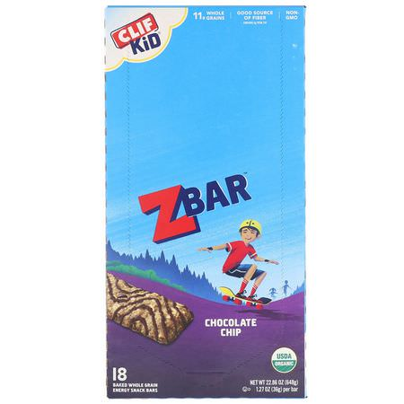 小吃店, 營養棒: Clif Bar, Clif Kid, Organic Z Bar, Chocolate Chip, 18 Bars, 1.27 oz (36 g) Each