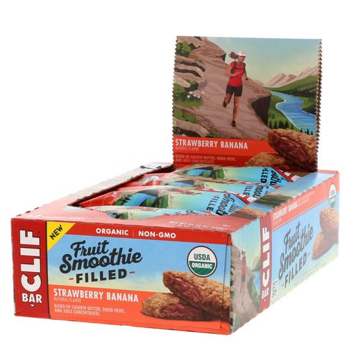 Clif Bar, Energy Bars, Fruit Smoothie Filled, Strawberry Banana, 12 Bars, 1.76 oz (50 g) Each Review