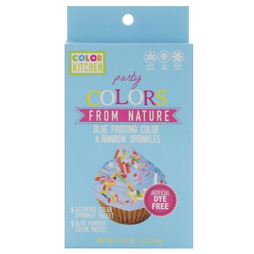 ColorKitchen, Party, Colors From Nature, Blue Frosting Color & Rainbow Sprinkles, 1.33 oz (37.74 g) Review