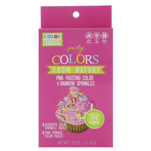 ColorKitchen, Party, Colors From Nature, Pink Frosting Color & Rainbow Sprinkles, 1.33 oz (37.74 g) Review
