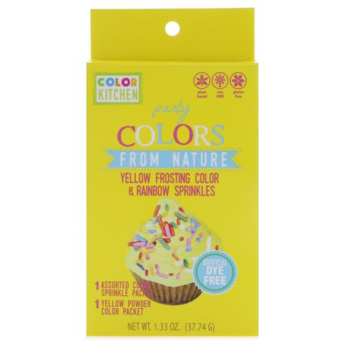 ColorKitchen, Party, Colors From Nature, Yellow Frosting Color & Rainbow Sprinkles, 1.33 oz (37.74 g) Review