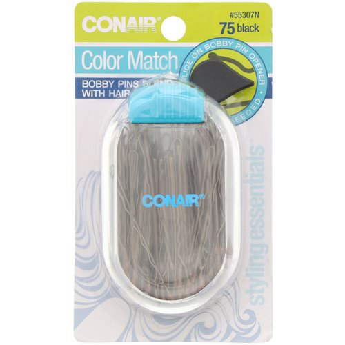 Conair, Color Match, Bobby Pins, Black, 75 Pieces Review