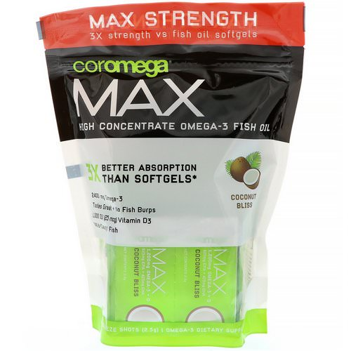 Coromega, Max, High Concentrate Omega-3 Fish Oil, Coconut Bliss, 2,400 mg, 60 Squeeze Shots, 2.5 g Each Review