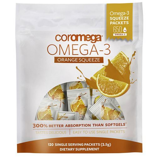 Coromega, Omega-3, Orange Squeeze, 120 Packets, (2.5 g) Each Review