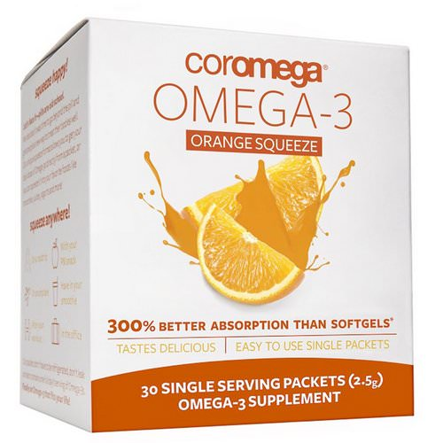Coromega, Omega-3, Orange Squeeze, 30 Packets, (2.5 g) Each Review