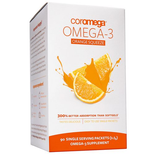 Coromega, Omega-3 Orange Squeeze, 90 Packets, 2.5 g Each Review