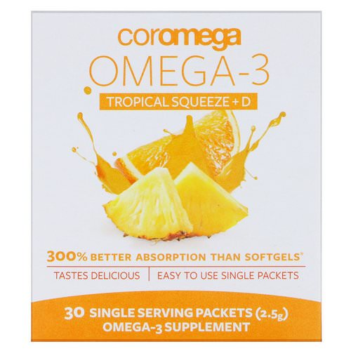 Coromega, Omega-3 Squeeze + Vit D, Tropical Orange, 30 Single Serving Packets, 2.5 g Each Review