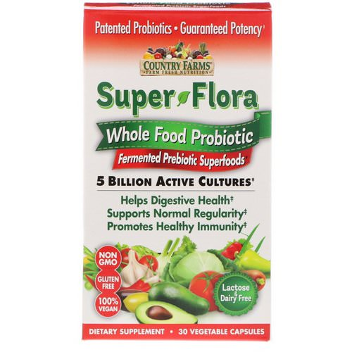 Country Farms, Super Flora, Whole Food Probiotic, Fermented Prebiotic Superfoods, 30 Vegetable Capsules Review