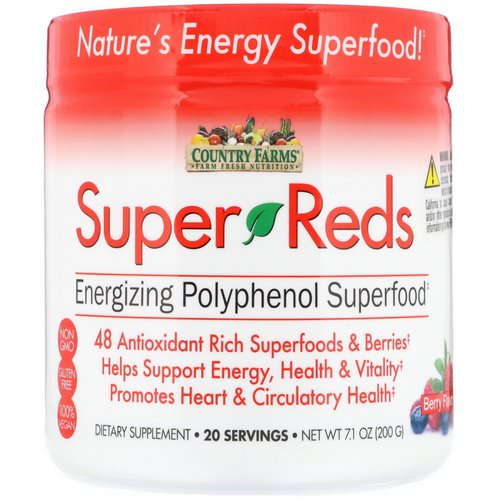 Country Farms, Super Reds, Energizing Polyphenol Superfood, Berry Flavor, 7.1 oz (200 g) Review