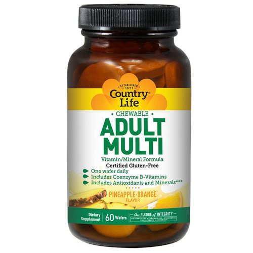 Country Life, Adult Multi, Chewable, Pineapple-Orange Flavor, 60 Wafers Review