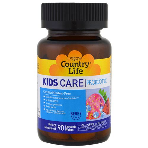 Country Life, Kids Care Probiotic, Berry Flavor, 90 Chewable Wafers Review