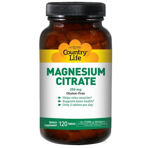 Country Life, Magnesium Citrate, 250 mg, 120 Tablets Review
