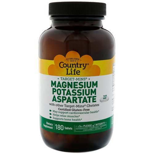 Country Life, Magnesium Potassium Aspartate, 180 Tablets Review
