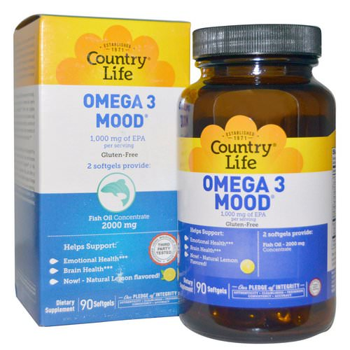 Country Life, Omega 3 Mood, Natural Lemon Flavored, 90 Softgels Review