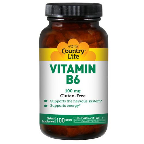Country Life, Vitamin B6, 100 mg, 100 Tablets Review