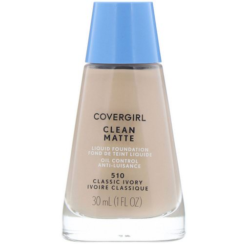 Covergirl, Clean Matte Liquid Foundation, 510 Classic Ivory, 1 fl oz (30 ml) Review