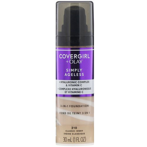 Covergirl, Olay Simply Ageless, 3-in-1 Foundation, 210 Classic Ivory, 1 fl oz (30 ml) Review