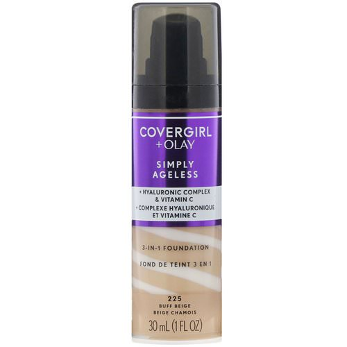 Covergirl, Olay Simply Ageless, 3-in-1 Foundation, 225 Buff Beige, 1 fl oz (30 ml) Review