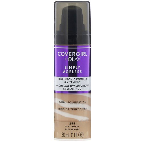 Covergirl, Olay Simply Ageless, 3-in-1 Foundation, 255 Soft Honey, 1 fl oz (30 ml) Review