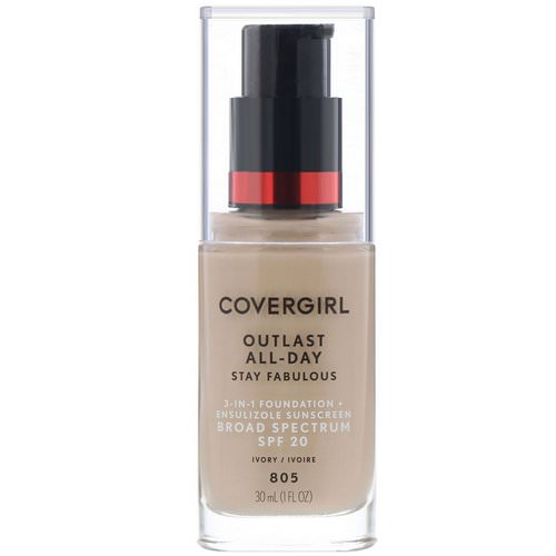 Covergirl, Outlast All-Day Stay Fabulous, 3-in-1 Foundation, 805 Ivory, 1 fl oz (30 ml) Review