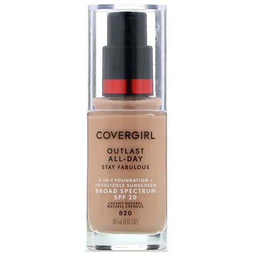 Covergirl, Outlast All-Day Stay Fabulous, 3-in-1 Foundation, 820 Creamy Natural, 1 fl oz (30 ml) Review