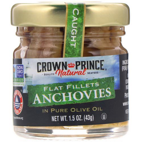 Crown Prince Natural, Anchovies, Flat Fillets, In Pure Olive Oil, 1.5 oz (43 g) Review