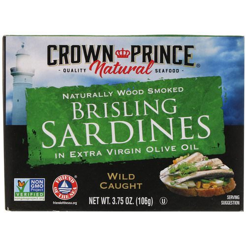 Crown Prince Natural, Brisling Sardines, in Extra Virgin Olive Oil, 3.75 oz (106 g) Review