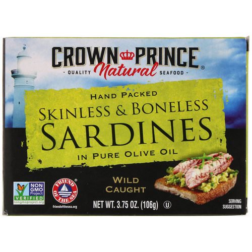 Crown Prince Natural, Skinless & Boneless Sardines, In Pure Olive Oil, 3.75 oz (106 g) Review