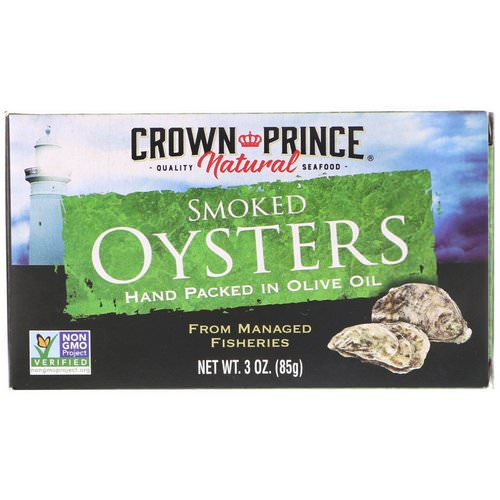 Crown Prince Natural, Smoked Oysters, In Olive Oil, 3 oz (85 g) Review