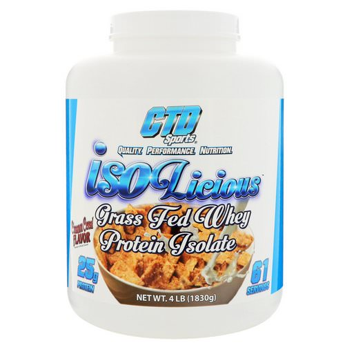CTD Sports, Isolicious Grass Fed Whey Protein Isolate, Cinnamon Cereal Flavor, 4 lb (1830 g) Review