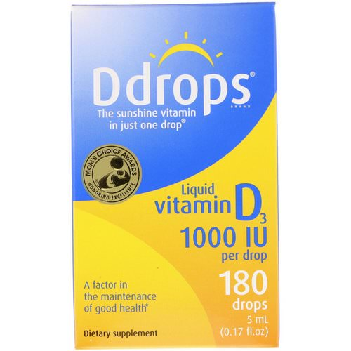 Ddrops, Liquid Vitamin D3, 1000 IU, 0.17 fl oz (5 ml) Review