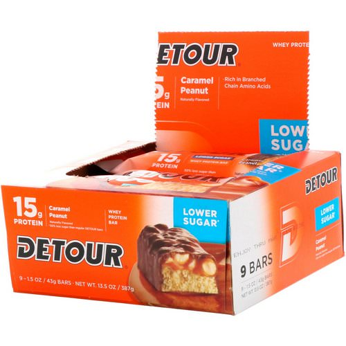 Detour, Whey Protein Bar, Caramel Peanut, 9 Bars, 1.5 oz (43 g) Each Review