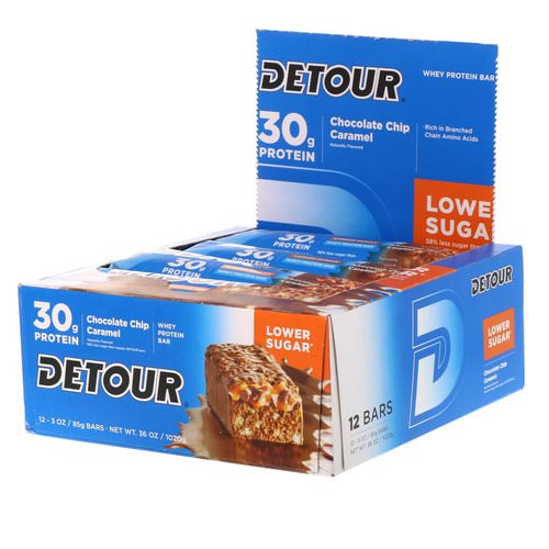Detour, Whey Protein Bar, Chocolate Chip Caramel, 12 Bars, 3 oz (85 g) Each Review