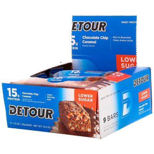Detour, Whey Protein Bar, Chocolate Chip Caramel, 9 Bars, 1.5 oz (43 g) Each Review