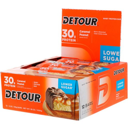 Detour, Whey Protein Bars, Caramel Peanut, 12 Bars, 3 oz (85 g) Each Review