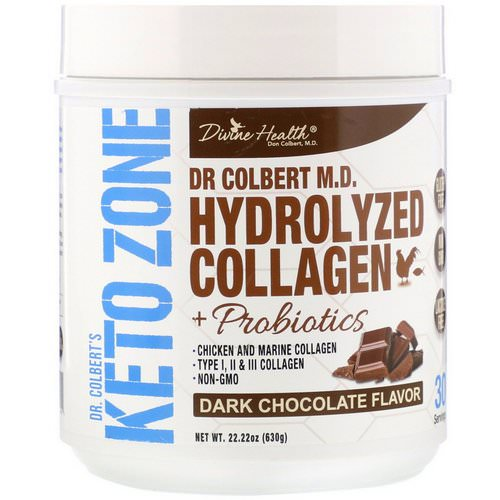 Divine Health, Dr. Colbert's Keto Zone, Hydrolyzed Collagen, Dark Chocolate, 22.22 oz (630 g) Review