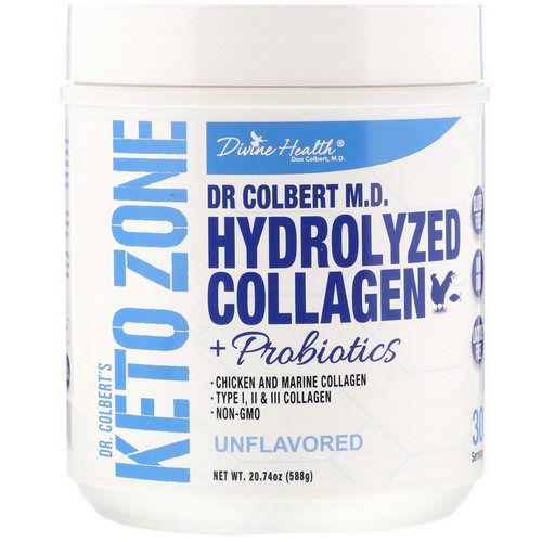 Divine Health, Dr. Colbert's Keto Zone, Hydrolyzed Collagen Plus Probiotics, Unflavored, 20.74 oz (588 g) Review