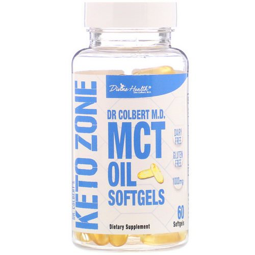 Divine Health, Dr. Colbert's Keto Zone, MCT Oil Softgels, 1,000 mg, 60 Softgels Review