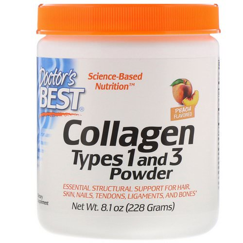 Doctor's Best, Collagen, Types 1 and 3 Powder, Peach Flavored, 8.1 oz (228 g) Review
