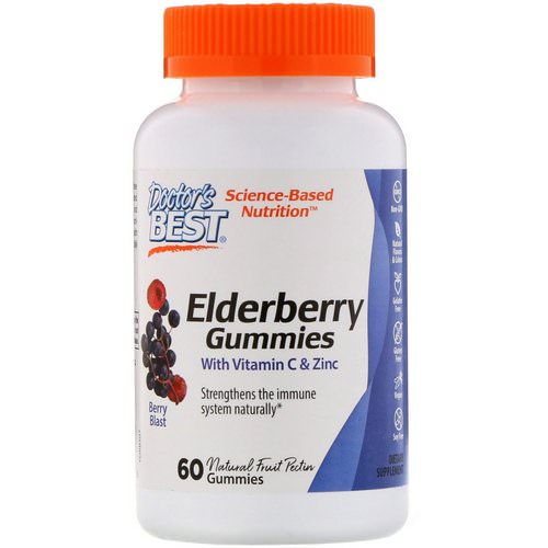 Doctor's Best, Elderberry Gummies with Vitamin C & Zinc, Berry Blast, 60 Gummies Review