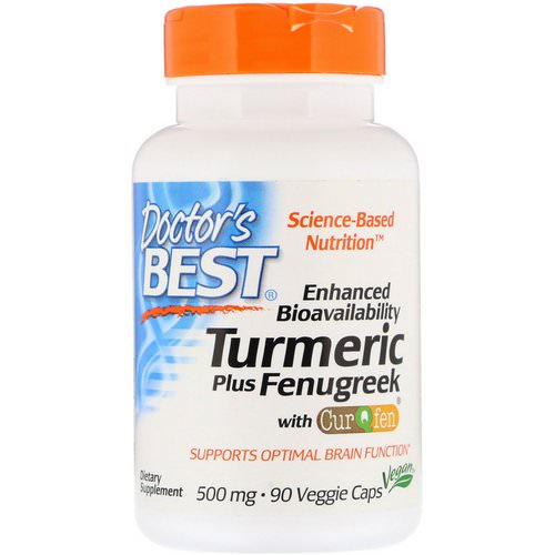 Doctor's Best, Enhanced Bioavailability Turmeric Plus Fenugreek, 500 mg, 90 Veggie Caps Review