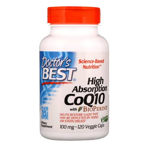 Doctor's Best, High Absorption CoQ10 with BioPerine, 100 mg, 120 Veggie Caps Review