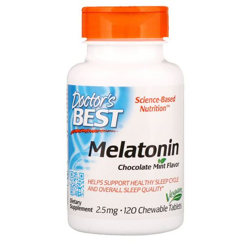 Doctor's Best, Melatonin, Chocolate Mint Flavor, 2.5 mg, 120 Chewable Tablets Review