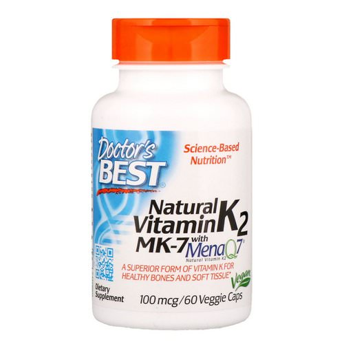 Doctor's Best, Natural Vitamin K2 MK-7 with MenaQ7, 100 mcg, 60 Veggie Caps Review