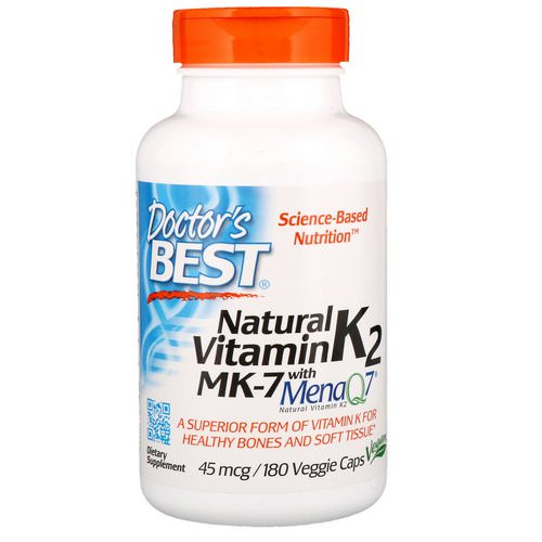 Doctor's Best, Natural Vitamin K2 MK-7 with MenaQ7, 45 mcg, 180 Veggie Caps Review