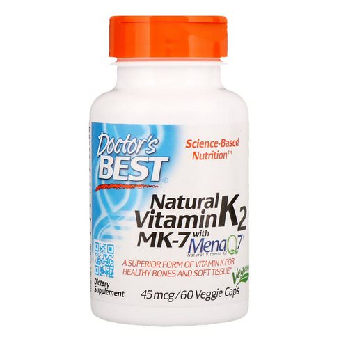 Doctor's Best, Natural Vitamin K2 MK-7 with MenaQ7, 45 mcg, 60 Veggie Caps Review
